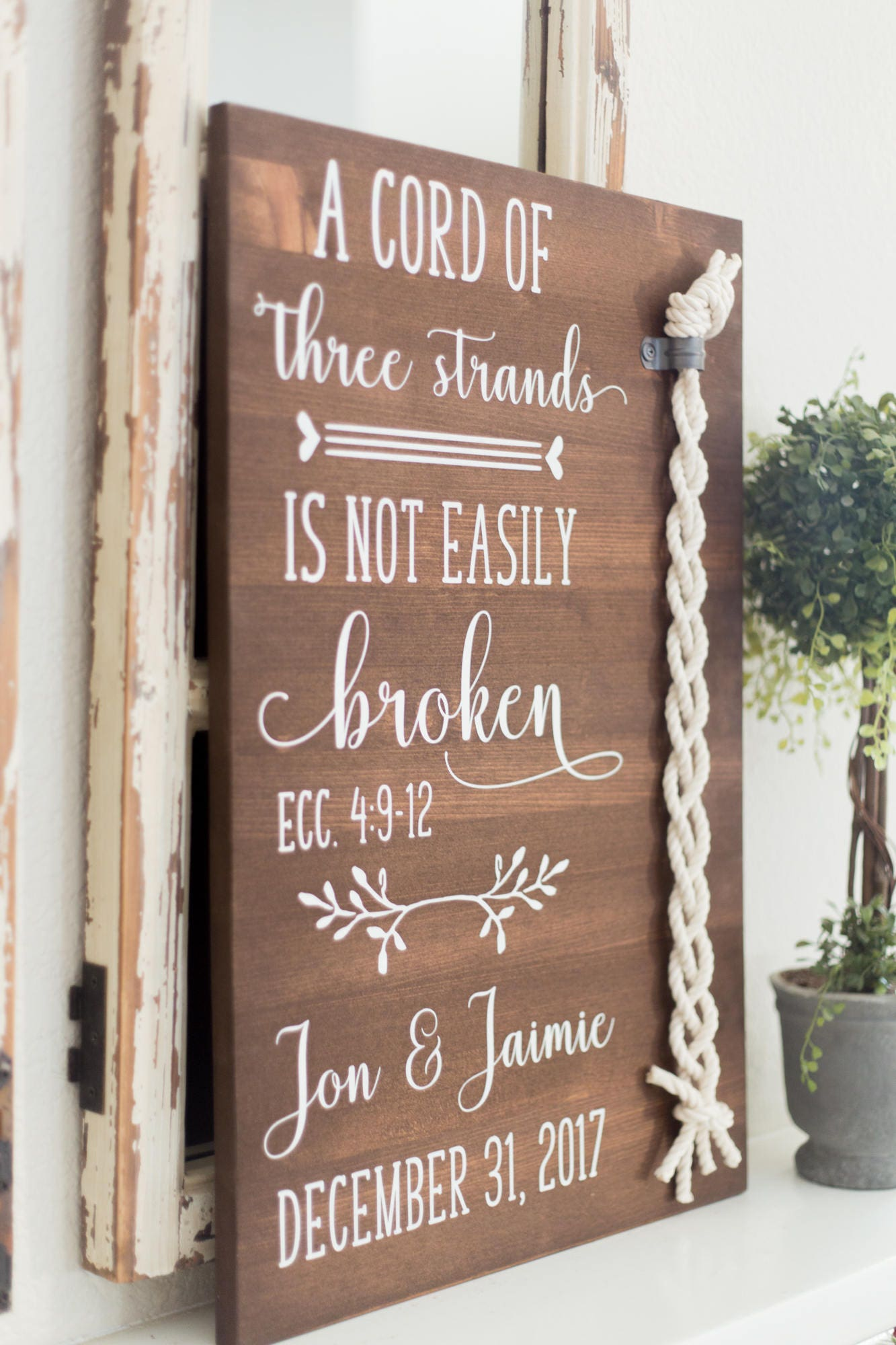 A Cord Of Three Strands Wood Sign, Wedding Unity Ceremony ...