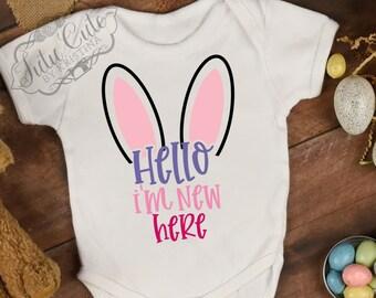 ed1b79ea61de0 Babies custom Bodysuit Shirt, Hello i'm new here, Baby Kid Toddler, Egg  Hunting, Pregnancy Announcment, Gender Reveal, Baby Shower Gift