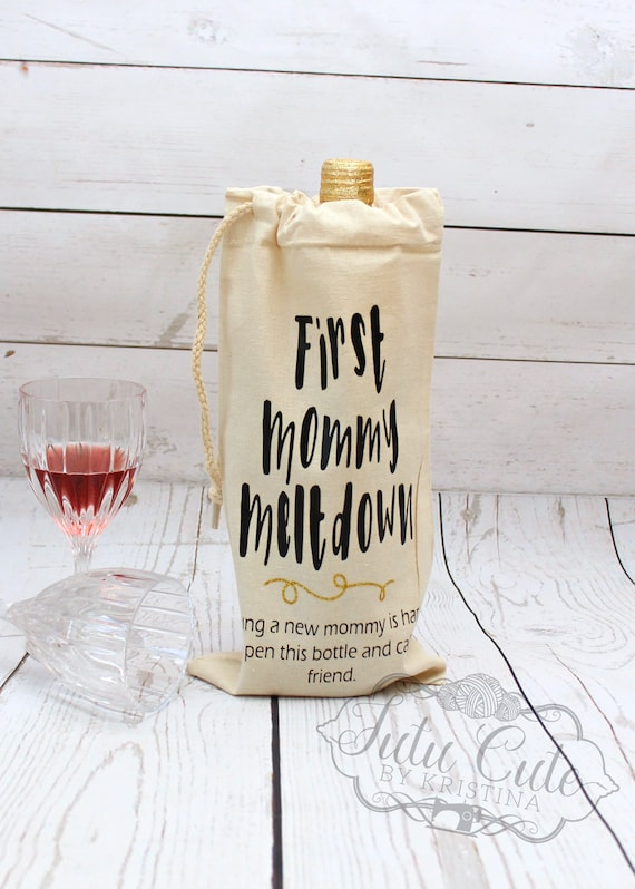custom wine bag baby shower gift first mommy meltdown new etsy