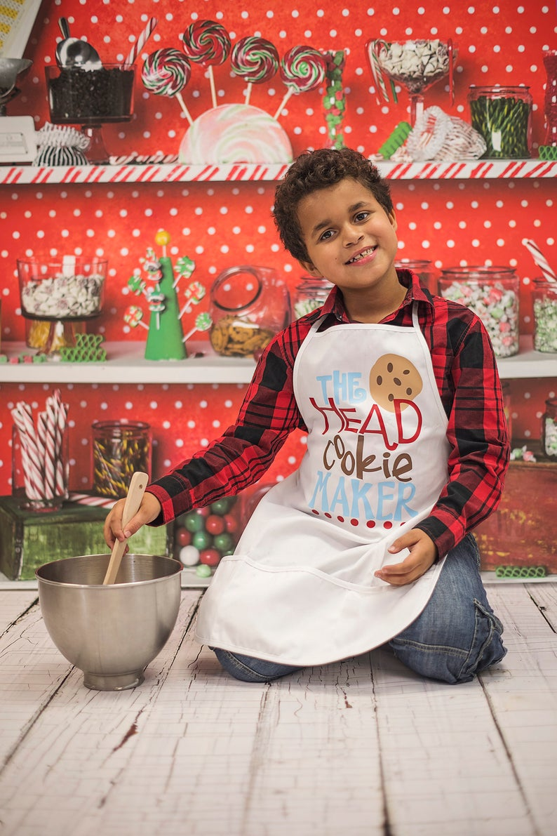 Girls Womens Boys Men Kitchen Personalized Christmas Apron The head Cookie Maker Toddler Kids Adult Holiday Baking Red Glitter