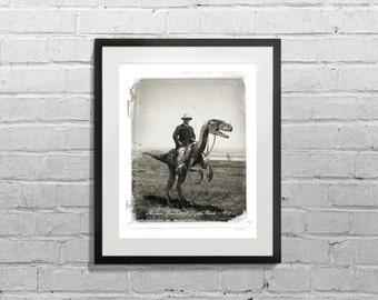Teddy Roosevelt Riding a Velociraptor at Raptor Ranch, 1903 - MPAH003