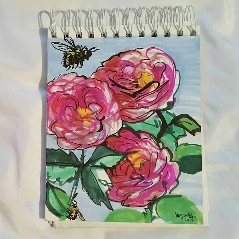Original Art Pink Roses & Bumblebees marker image 0