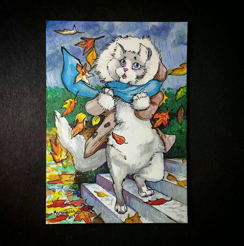 Autumn Miss Kitty Greeting Card image 0