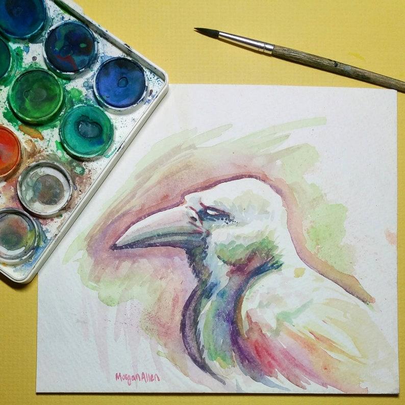 Original Art Rainbow Crow watercolor painting image 0