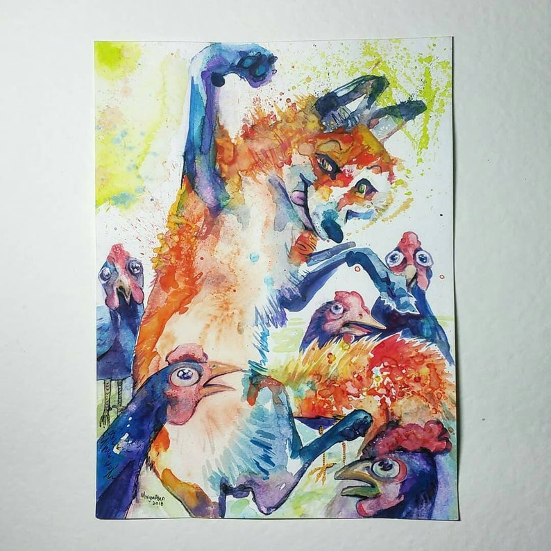 Original Watercolor Clucker-Plucker Boogie-Woogie image 0