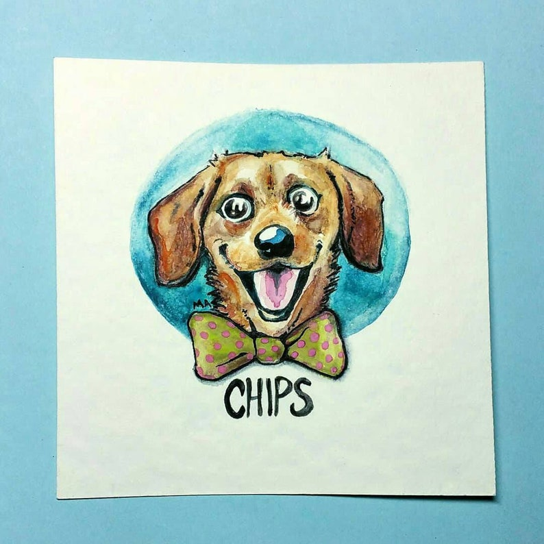 CUSTOM PET PORTRAIT watercolor with name image 0