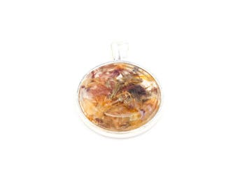 Midsummer Litha flower petals and herbs necklace in Resin Pentacle on metal Pendant Protection