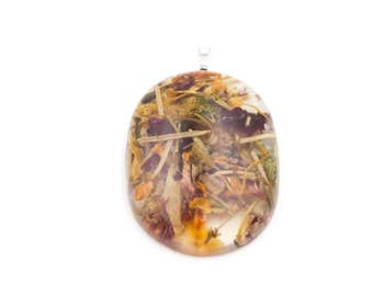 Midsummer Litha flower petals and herbs necklace in Resin Pendant