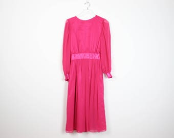Chiffon midi dress pink