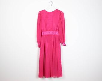 Chiffon midi dress pink