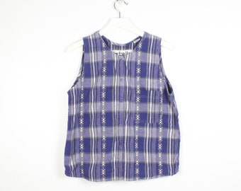 212b4c7982eda0 Vintage 90s Tank Top Loose Babydoll Pleated Back Navy Blue Moss Green White  Madras Plaid Summer Soft Grunge 1990s Sleeveless Tee M Medium L