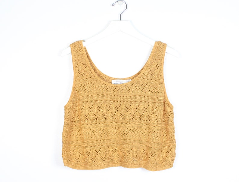 74d1423dca98b Vintage 90s Crop Top Mustard Gold Knit Top Sleeveless Sweater