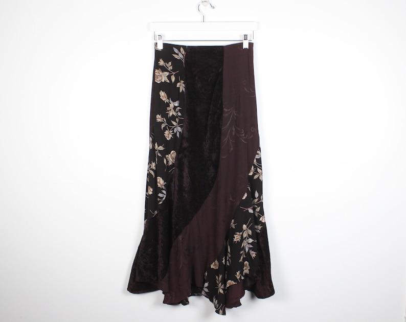 8f04bc3b9731 Vintage 90s Skirt Brown Plum Burgundy Purple Floral Print