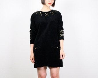 Vintage 80s Dress Little Black Dress Mini Dress Gold Embroidered Dress Shift Dress Velour Dress 1980s Dress Bloomingdales Dress M Medium L