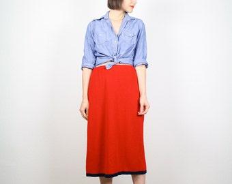 Vintage Red Skirt 80s Skirt Knit Skirt Midi Skirt Navy Blue Stripe Trim Pencil Skirt Tea Length Sweater Skirt Red Blue 1980s Skirt M L Large
