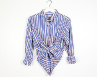 Vintage 1980s Blouse Blue White Rainbow Striped Collared Boyfriend Oxford Shirt Button Down Collared Shirt 80s Long Sleeve Preppy Top M L