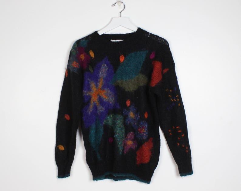 2cc37f2dc078d4 Vintage 1980s Sweater Black Floral Embroidered Pom Pom Detail   Etsy