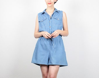 Vintage Denim Romper 1990s Jean Jumper Slouch Top Soft Grunge Romper Chambray Playsuit Shortalls Shorts Overalls 90s Outfit L Extra Large XL