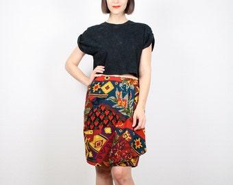 Vintage Southwestern Print Skirt 1980s Skirt Mini Skirt Draped Wrap Skirt Tulip Skirt 80s Boho Rainbow Navajo Midi Skirt M L Large  XL