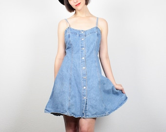 Vintage 90s Dress Mini Dress Denim Dress Blue Jean Dress Skater Dress Hipster Boho 1990s Dress Soft Grunge Dress Sundress L Extra Large XL