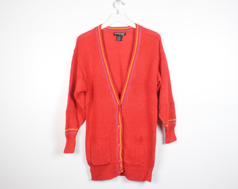 Vintage 80s Sweater Dress Bright Coral Orange Red Preppy V  2aa3dbe01
