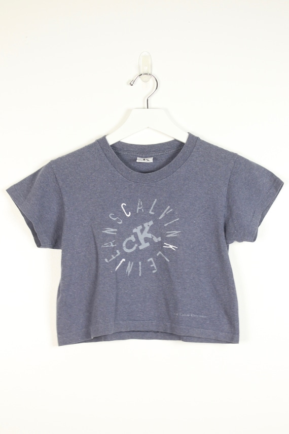 authentic quality cheap good out x Vintage 1990s CK Crop Top Faded Gray Calvin Klein Cropped Tshirt 90s Worn  Out Stamp Spell Out Soft Grunge T Shirt Baby Tee XS Extra Small S