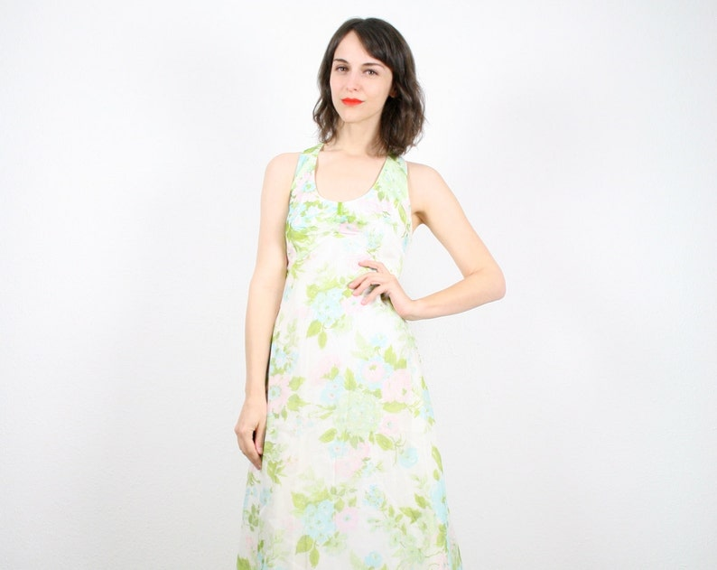 91b7ee75b6d3 Vintage Hippie Dress Maxi Dress Hippie Wedding Dress Backless Floral Print  Dress Ivory Boho Festival Sundress 1960s 60s S XS ...