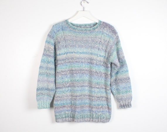 fded5019f4c5 Vintage 80s Sweater Ombre Striped Blue Purple Cable Knit