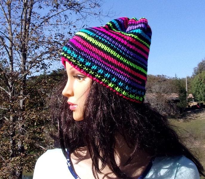 Hand Knitted Neon Stripe Hat Neon Ski Hat Neon Ski Cap  11a6db37b51