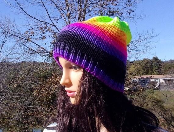 Neon Ski Hat Neon Cap Neon Variegated Hat Warm Hat Back To  1ad6978de1a