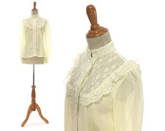 23da69832227dc Size S Gunne Sax blouse Victorian style womans 1800s 1910s blouse antique  replica shirt top white long sleeve button up down costume