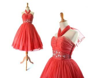 30d99ebd60a 1950s Dress Red 50s Dress Prom Dress Party Dress Cocktail Dress Formal Dress  XS Dress Small Dress Vintage Dress Vintage Prom Dress