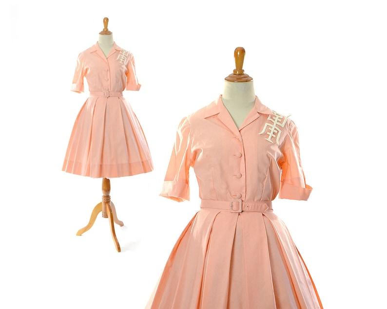 a41aae8cea46a Size xs small 1950s Dress 50s peach Shirt Dress shirtwaist | Etsy