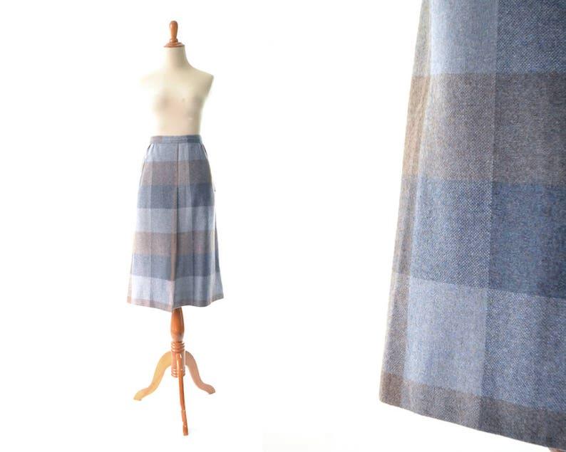 346b8ce57a M Vintage Plaid Skirt Wool Skirt medium A line Skirt pleated | Etsy