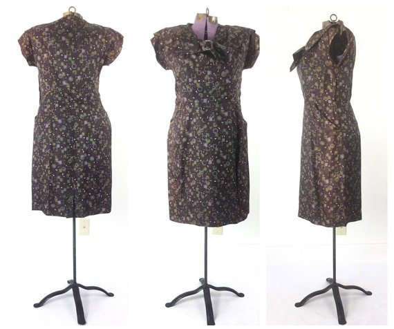 brown dress dress Dress 40s clothing 1940s dress clothing print dress Large 1940s 40s Vintage wUT7nxqt