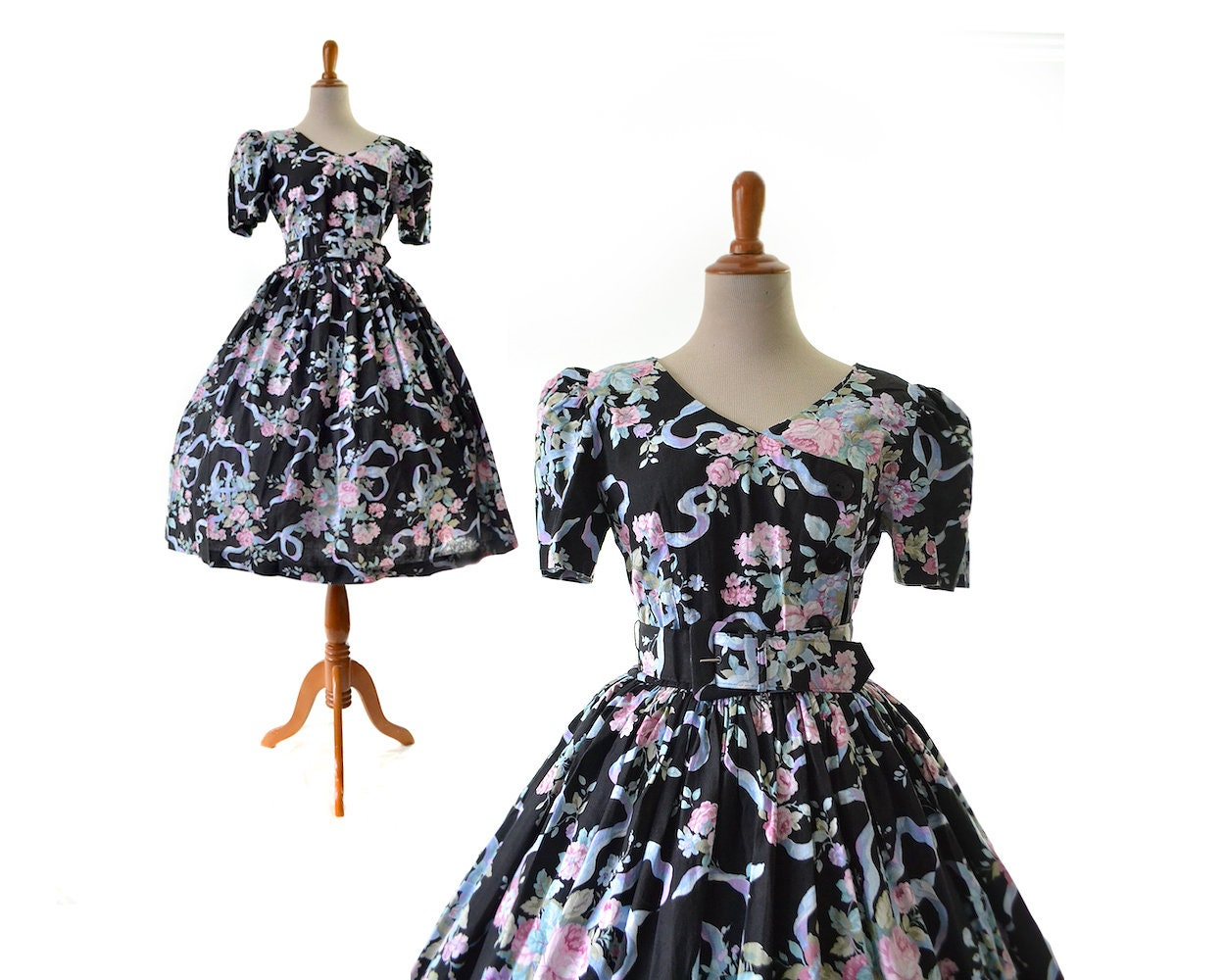 80s Dresses | Casual to Party Dresses 1950S Dress Floral Print Black 50S Dark Cotton Rose Pinup Rockabilly Swing Women Dreses. Vintage Dresses $7.99 AT vintagedancer.com