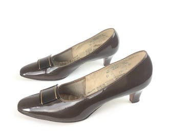 1960s shoes, 60s shoes, Brown patent leather shoes, vintage 1960s shoes, vintage 60s shoes, size 11 shoes, women's shoes