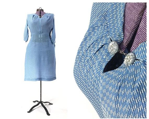 Size M petite 1940s dress 40s dress blue dress Pri