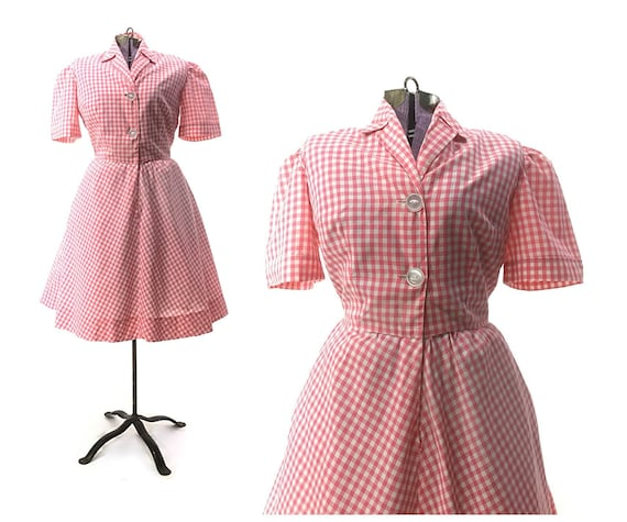 Size S M vintage 1950s pink dress retro fit and fl