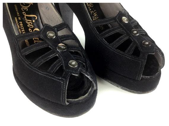 high lattice spiderweb shoe black shoes women's size 40s 6 platform shoes shoes shoes vintage 1940s rockabilly heel suede APdv5zZqqW