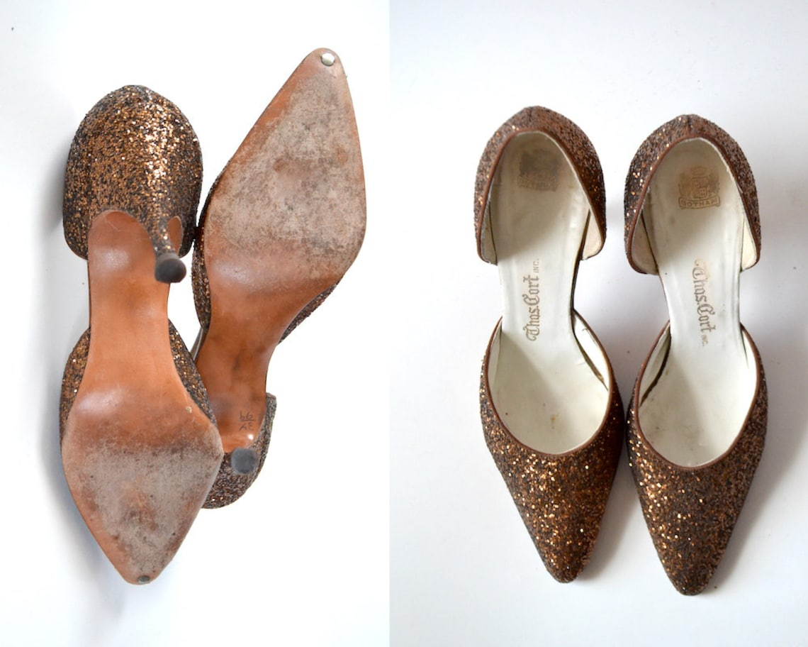 Bronze heels Size 6 bronze pumps bronze shoes retro glitter 1950 50s pinup evening formal  womens shoes  vintage shoes