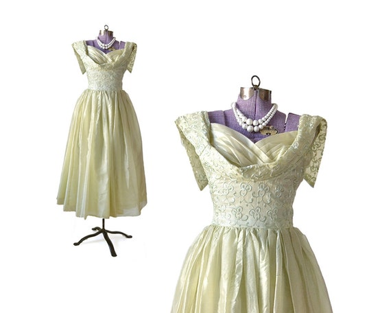 1950s Formal Dress 50s Party Dress Green Dress For