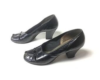 1940s shoes 40s shoes black shoes 1940s heels 40s heels black heels Black pumps vintage 1940s shoes, vintage 40s shoes, women's shoes
