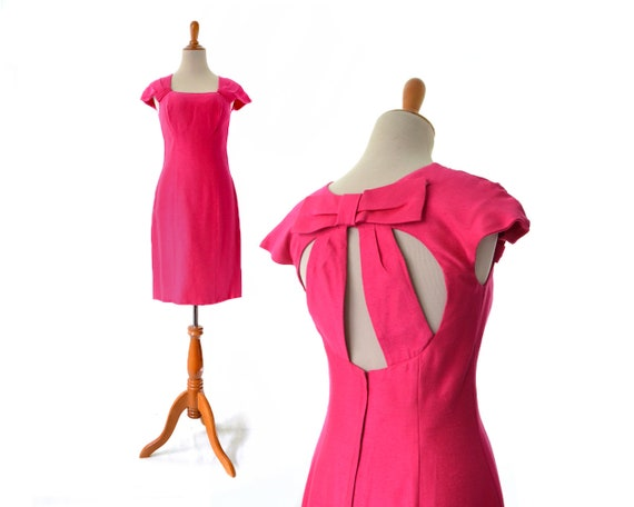 1980s party dress hot pink party costume retro cut