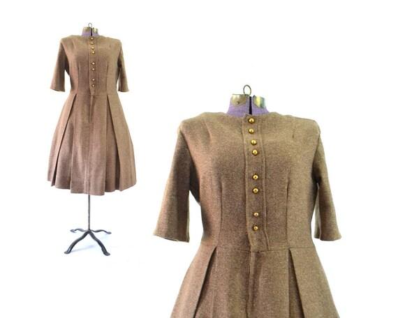 dress tweed clothing 50s vintage 50s large large dress winter tan 1950s dress brown dress dress Wool vintage dress dress gqdag1