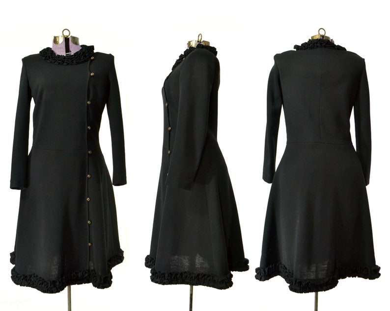 Size M Black Sweater Dress 1960s Dress 60s Womens Vintage Clothing Retro Lettuce Edge Double Breasted Ruffle Long Sleeve Modest