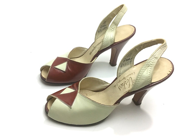 204c0ab767c Size 6 vintage 1940s shoes forties retro pinup slingback brown