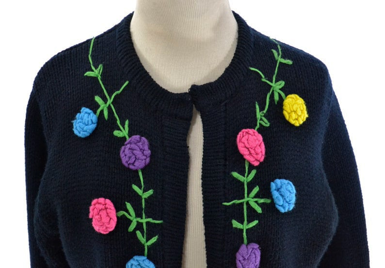 Size S M Vintage 1960s black cardigan sweater retro 60s sweater for women in size medium granny acrylic floral embroidered boho