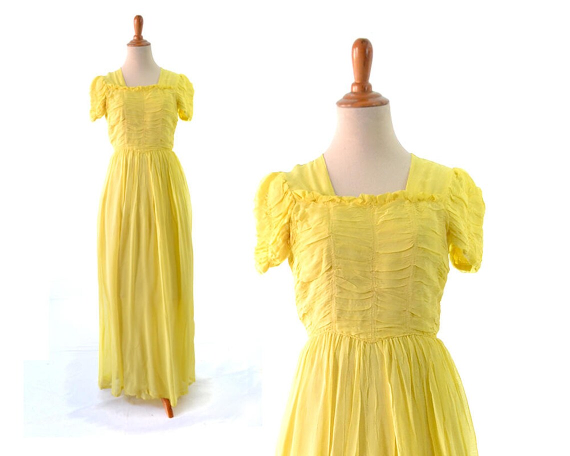 1930s Dress 30s Dress Yellow Dress Long Dress Formal Dress Etsy