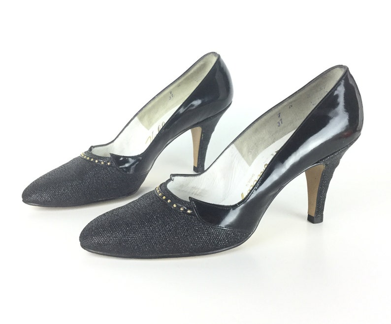 4678ca70b11405 Größe 65 7 schmalen Vintage schwarze Pumps Damen Schuhe mit